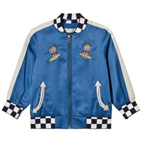 Stella McCartney Kids Blue Embroidered Eastwood Bomber Jacket with Check Trims 4261