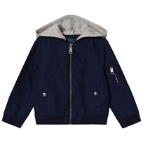 Ralph Lauren Navy Cotton Nylon Bomber Hooded Jacket Newport Navy