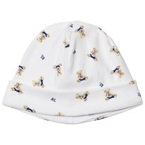 Ralph Lauren White Bear Print Hat White Blue Multi