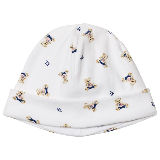 Ralph Lauren Bear Print Mössa Vit White Blue Multi