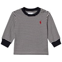 Ralph Lauren White and Navy Stripe Jumper Warm White/Hunter Navy