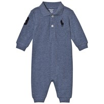 Ralph Lauren Blue Mesh Footless Babygrow with PP Capri Blue Heather