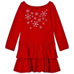 Lands' End Red Embellished Snowflakes Ruffle Tiered Dress