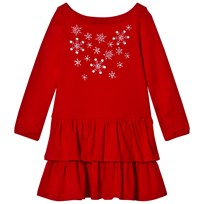 Lands End Red Embellished Snowflakes Ruddle Tired Dress 6RQ