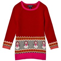 Lands End Red Happy Snowman Oversized Sweater 6Q1