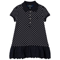 Ralph Lauren Navy White Dots Short Sleeve Polo Dress with Eyelet Skirt Hunter Navy/ White