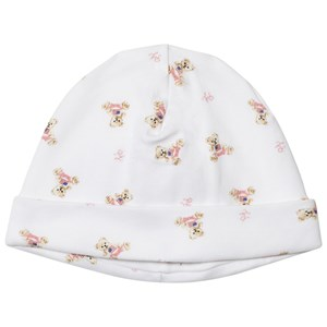 Ralph Lauren White and Pink Bear Print Beanie One Size
