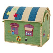 Rice Small Raffia House Basket Cirkus Small Multi