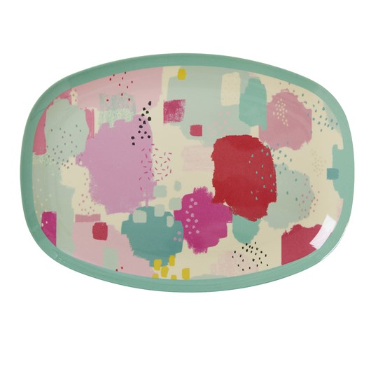Rice Rectangular Melamine Plate with Splash Print Splash Print
