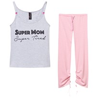 You! Lingerie Darcy Super Mom Super Tired Pajama Set Gray/Pink Gray/Pink