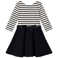 Ralph Lauren White and Navy Stripe and Navy Skirt Solid Dress Aviator Navy/Nevis