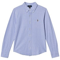 Ralph Lauren Blue Stripe Oxford Mesh Shirt blue multi