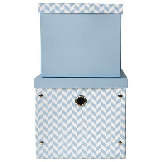 Vinter & Bloom Herringbone Storage Boxes Alaskan Blue Blue