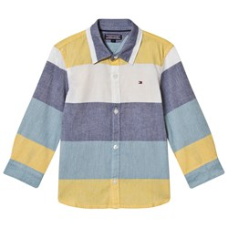 Tommy Hilfiger Blue, Yellow and White Color Block Shirt