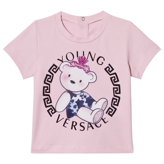 Versace Pink Teddy Bear Medusa Print Infants Tee Y3976
