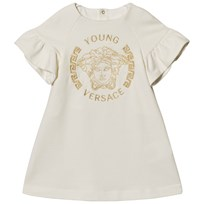 Young Versace White with Gold Embroidered Medusa Infants Dress Y4001