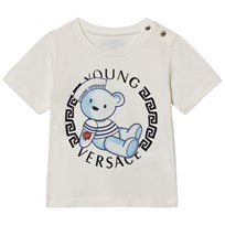 Young Versace White Teddy Bear Medusa Print Infants Tee Y3762