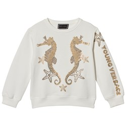 Versace White with Gold Sequin Seahorse Sweater