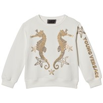Young Versace White with Gold Sequin Seahorse Sweater Y3951