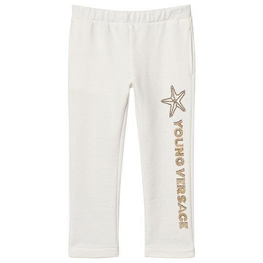 Versace White Sequin Branded Sweatpants Y3951