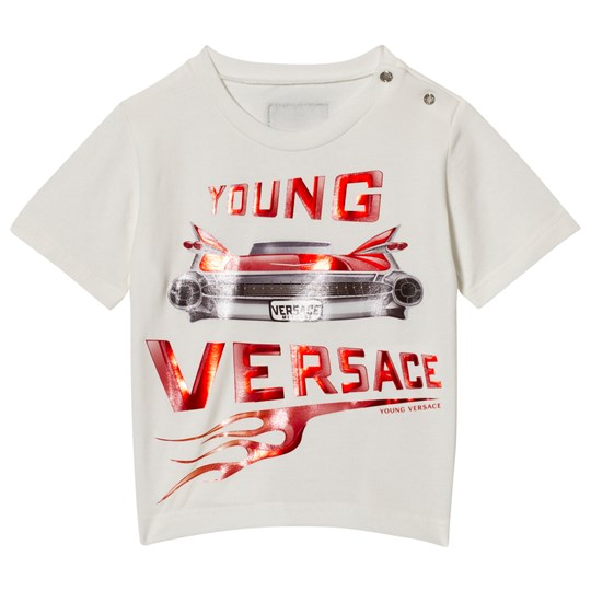 Versace White Metallic Car and Branded Infants Tee Y3760