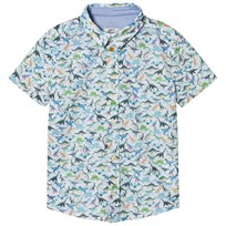 Paul Smith Junior White Multi Dinosaur Print Short Sleeve Shirt 01