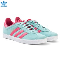 adidas Originals Aqua and Pink Junior Gazelle Trainers ENERGY AQUA F17/SUPER PINK F15/GOLD MET.