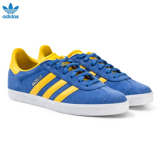 adidas Originals Blue and Yellow Junior Gazelle Trainers BLUE/EQT YELLOW S16/GOLD MET.