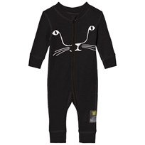 Kattnakken Cat Wool Pyjamas Black Kattesvart