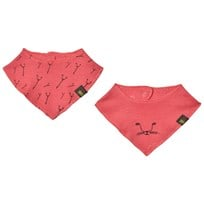 Kattnakken 2 Pack Wool Bib Cats Strawberry Pink Jordbær