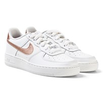 NIKE White and Bronze Nike Air Force 1 Junior Trainers SUMMIT WHITE/MTLC RED BRONZE