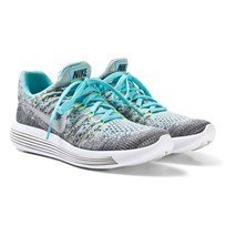 NIKE Grey and Blue Nike LunarEpic Low Flyknit 2 Junior Trainers WOLF GREY/METALLIC SILVER-POLARIZED BLUE