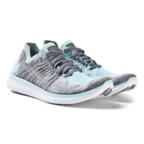 NIKE Blue Nike Free Run Flyknit 2017 Junior Trainers METALLIC SILVER/REFLECT SILVER-COOL GREY