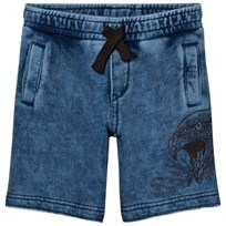 Diesel Blue Acid Wash Jersey Shorts with Eagle Print K01