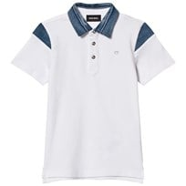 Diesel White and Denim Patch Polo K100