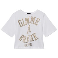 Diesel White and Gold Glitter Glitter Hat Me a Break Tee K100