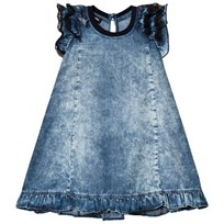Diesel Blue Acid Wash Frill Ruffle and Lace Sleeve Dress K01