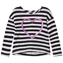 Tom Joule Navy Stripe Embellished Heart Long Sleeve Jersey Tee NAVY STRIPE HEART
