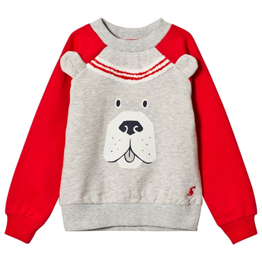 Tom Joule Grey Marl and Red Sleeve Dog Face Sweatshirt Greymrl