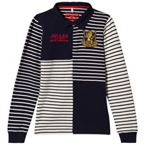 Tom Joule Navy Stripe Branded Rugby Top French Navy