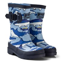 Tom Joule Blue Shark and Stripe Printed Wellies Shark Dive Stripe