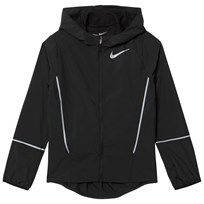NIKE Black Hooded Running Jacket Black/Black