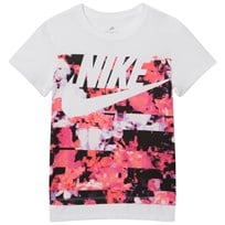 NIKE White and Pink Printed Hyperfade Sportswear Tee WHITE/LIGHT THISTLE