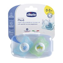 Chicco Physio Micro Pacifier 0-2m Silicone 2 Pack Blue