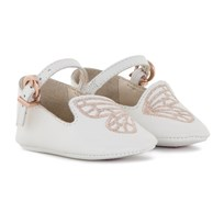 Sophia Webster Mini Bibi White and Rose Gold Butterfly Crib Shoes White/ Rose Gold