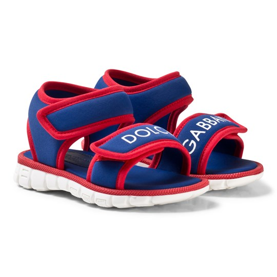 Dolce & Gabbana Blue and Red Branded Velcro Sandals 89919