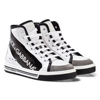 Dolce & Gabbana White and Black Tape Logo Branded Zip High Tops HWI67