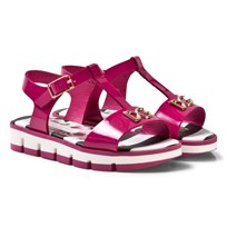 Dolce & Gabbana Fuchsia Patent Leather Branded Sandals with Bow 87392