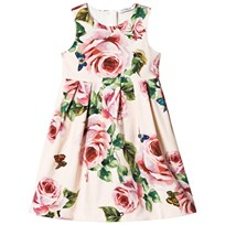 Dolce & Gabbana Pale Pink Rose Print Sleeveless Cotton Dress HAH41