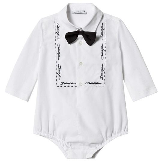 Dolce & Gabbana White Tuxedo Shirt Body with Embroidered Lettering W0800